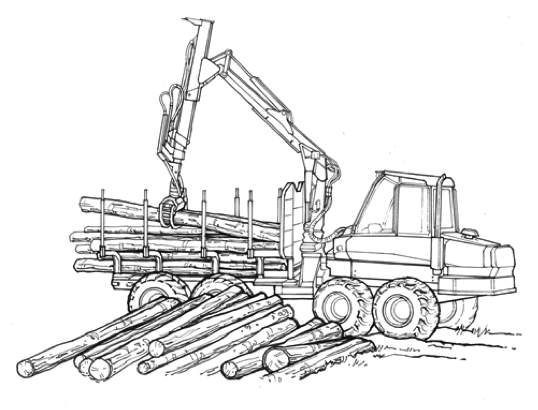 Figure 16 A Forwarder In The Process Of Loading Logs Onto Bunk